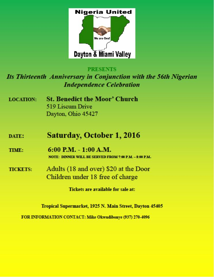 Invitation to Nigerian Independence Anniversary Party in Ohio